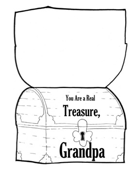 Father's Day Card Treasure Chest Dad Grandpa PIRATE THEME with Pirate Hat