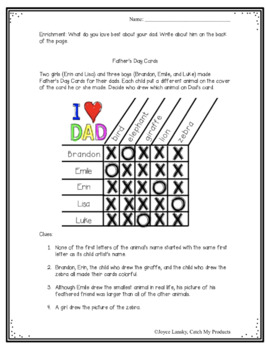 Father's Day Logic Puzzle for Gifted, Talented, or Bright Learners