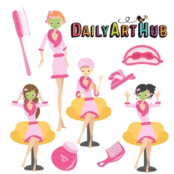 Spa Girls Clip Art - Great for Art Class Projects!