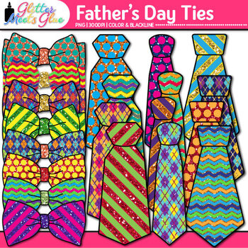 Father's Day Clip Art {Colorful Tie and Bowtie Graphics for Photo Booth Props}