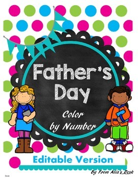 Father's Day Color by number (Editable Version)