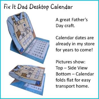 Father's Day Craft - FIX IT DAD Desktop Calendar