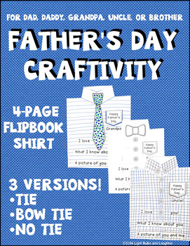 Father's Day Craftivity - Flipbook Shirt With Tie, Bow Tie, or No Tie