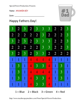 Fathers Day FREE - # 1 Dad - Color By Numbers!