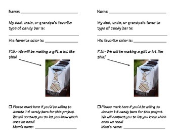 "Father's Day Gift Idea... ""Tie"" envelope & Candy Bar Donation!"