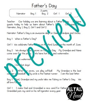 Father's Day Informative Reader's Theater