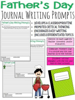 Father's Day Journal Writing Prompts (activity leading up to the special day)