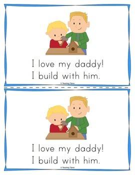 Father's Day Worksheets Emergent Reader Task Cards