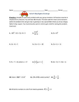 Factoring Polynomials, Volume, and Algebra Review