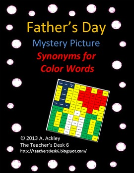 Father's Day Mystery Picture Synonyms for Color Words