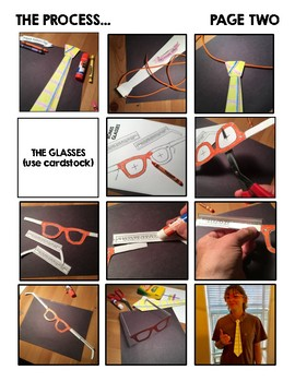 Fathers Day Paper Tie and Glasses Dress Up Tribute