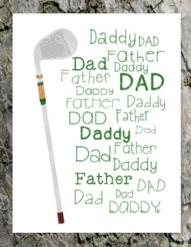 Father's Day Poster Print Golf Dad Daddy Father PDF Printable