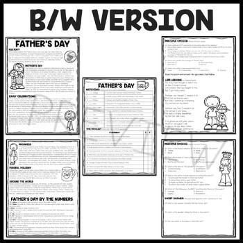 Father's Day Reading Comprehension Worksheet & Poem; June Holidays