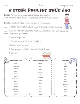 Father S Day Recipe Poetry Project By Stephanie Woodward Tpt