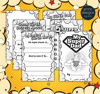 Fathers Day Super Dad Writing Activity Book - Gift for Dad!