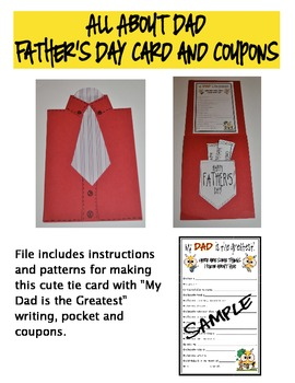 Father's Day Tie Card with Coupons and Writing Activity