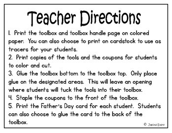 Father's Day:  Toolbox Coupon Craftivity