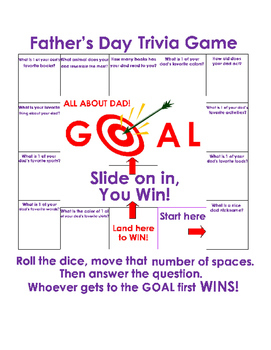 Fathers Day Trivia Game ALL ABOUT DAD Fun Stuff Critical Thinking Activity ELA