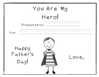 "Father's Day ""You are my hero"" certificate"