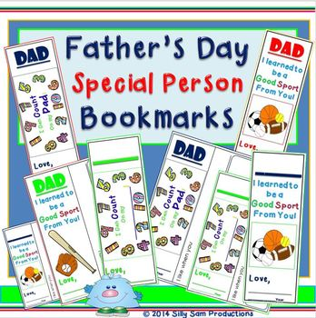 Father's Day/Special Person Bookmarks:I Can Count on My Dad