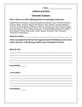 Fathers and Sons Character Analysis Activity - Ivan Turgenev