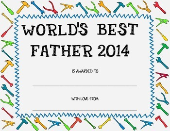 Father's day certificate 2014