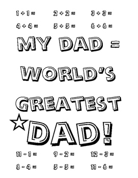 Fathers day math ADDITION SUBTRACTION Worlds Greatest Dad Printable Coloring 1pg