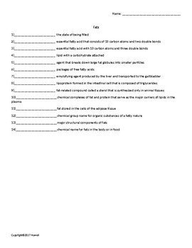 Fats Quiz or Worksheet for Nutrition and Health Students
