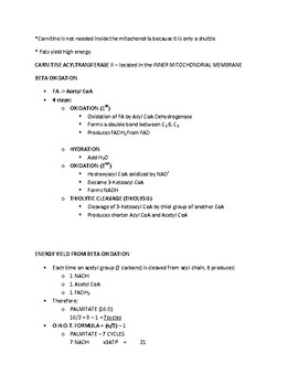 Fatty Acid Synthesis - Quick Review Biochemistry Fact and Handout