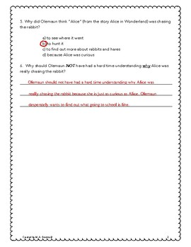 Fatty Legs - ANSWER KEY to Comprehension Questions - Grades 4 - 6