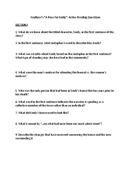 "Faulkner's ""A Rose for Emily"" (112) Active Reading Questions w/ KEY"