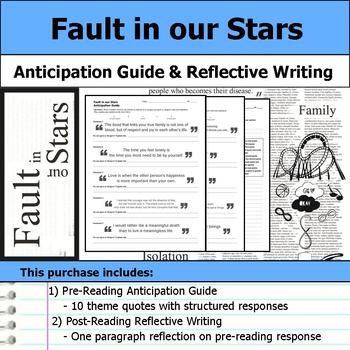 Fault in our Stars - Anticipation Guide & Reflection