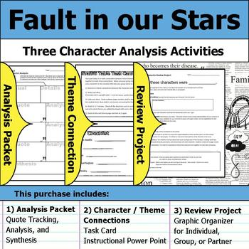 Fault in our Stars - Character Analysis Packet, Theme Connections, & Project