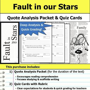 Fault in our Stars - Quote Analysis & Reading Quizzes