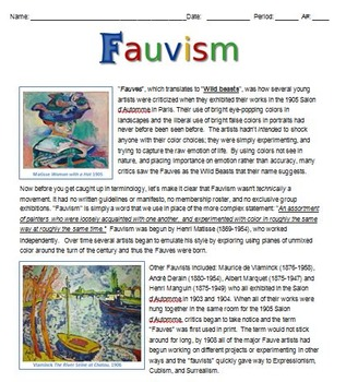 Fauvism Guide and Project