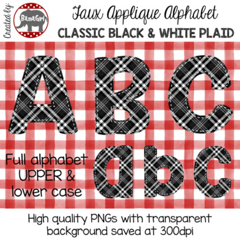 Faux Applique Alphabet Clipart PNGs - Classic Black and White Plaid Letters
