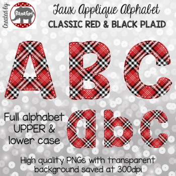 Faux Applique Alphabet Clipart PNGs - Classic Red and Black Plaid Letters