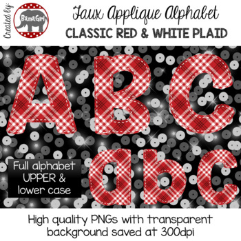 Faux Applique Alphabet Clipart PNGs - Classic Red and White Plaid Letters