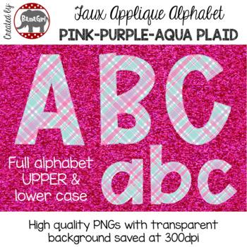 Faux Applique Alphabet Clipart PNGs - Pink, Purple, Aqua Plaid