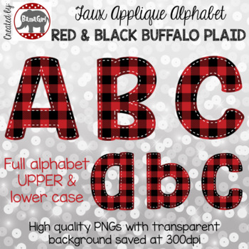 Faux Applique Alphabet Clipart PNGs - Red & Black Buffalo Plaid Letters