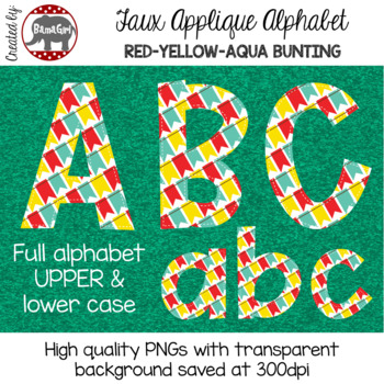 Faux Applique Alphabet Clipart PNGs - Red, Yellow, Aqua Bunting