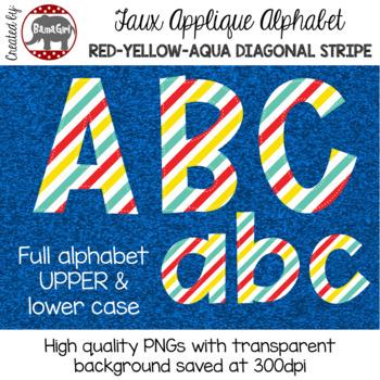Faux Applique Alphabet Clipart PNGs - Red, Yellow, Aqua Diagonal Stripes