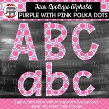 Faux Applique Alphabet Clipart - Purple with Pink Polka Dots Alpha Pack