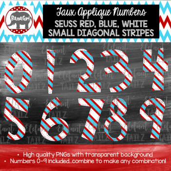 Faux Applique Numbers - Dr. Seuss Red, Blue, & White Small Stripes Number Pack
