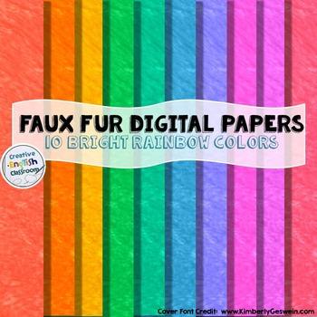 Faux Fur Digital Papers -- 10 Bold Rainbow Colors