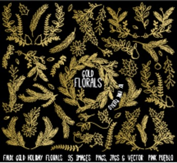 Faux Gold Foil Christmas Holiday Florals or Laurels Clipart Clip Art