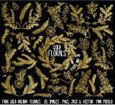Faux Gold Foil Christmas Holiday Florals or Laurels Clipart Clip Art
