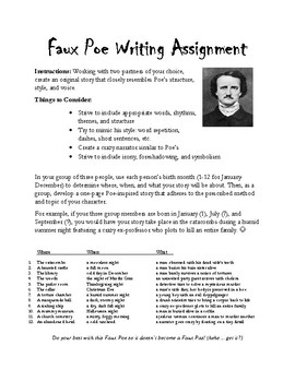 Faux Poe Writing Assignment