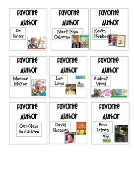 Favorite Author Book Box Labels
