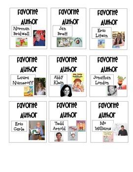 Favorite Author Book Box Labels